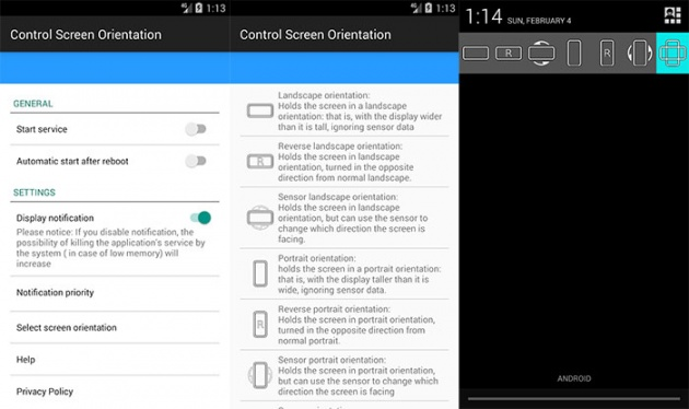control screen rotation on Android