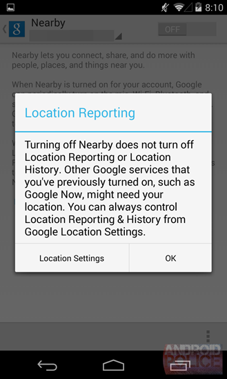 Notice in Google Nearby of privacy issues