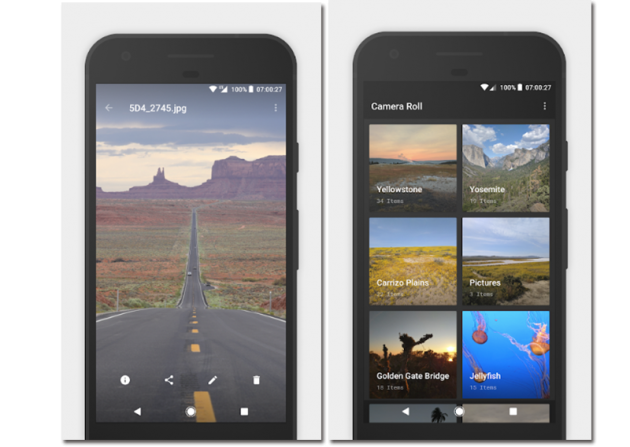 Official screenshots of the Camera Roll Photo Gallery app