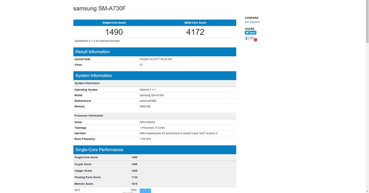 Geekbench filters the features of the Samsung Galaxy A7 2018