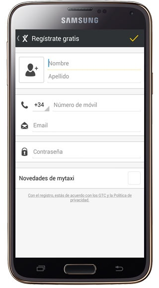 User information in MyTaxi