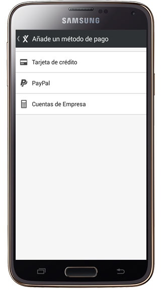 Payment options in MyTaxi