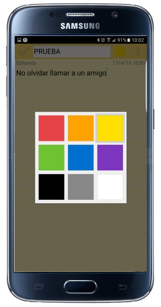 Colors available in ColorNote