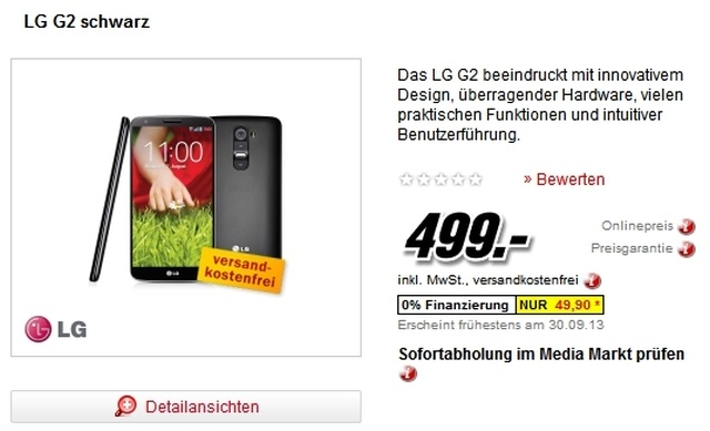 The LG G2 LOWS IN PRICE AND CAN BE RESERVED IN GERMANY FOR 499 EUROS