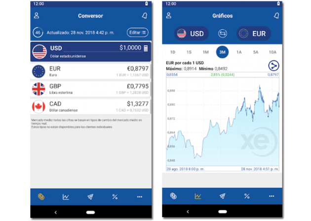 Sample images of the XE Currency app