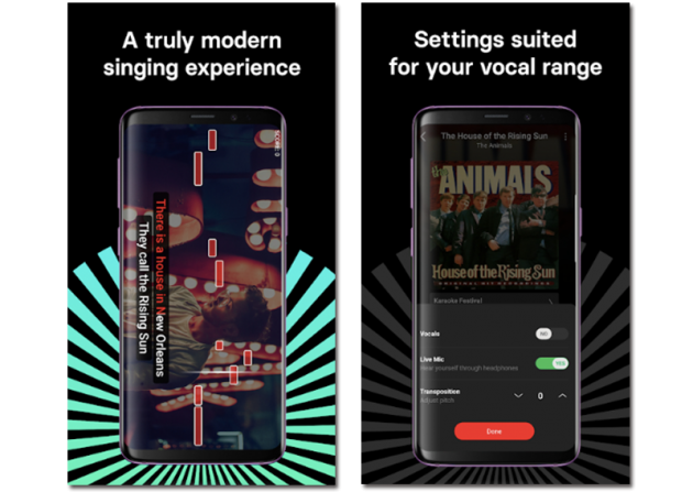 Official images of Singa, karaoke app for your mobile