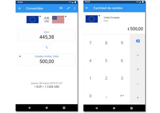 Sample images of the Exchange Rate app