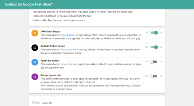 Toolbox for Google Play Store settings
