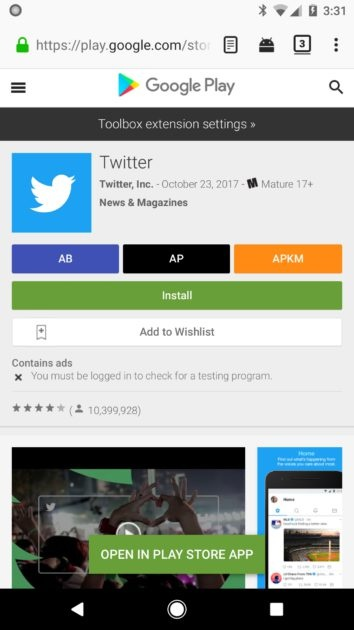 Toolbox for Google Play Store in Firefox for Android