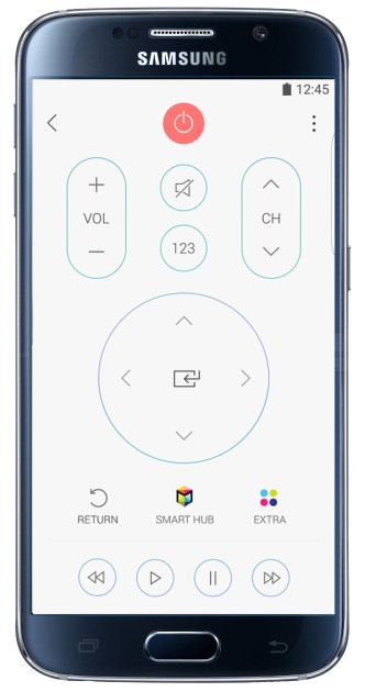Remote control in the Samsung SmartView app
