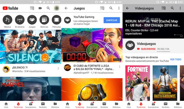 access YouTube Gaming from the main app