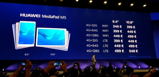 Prices of the Huawei MediaPad M5