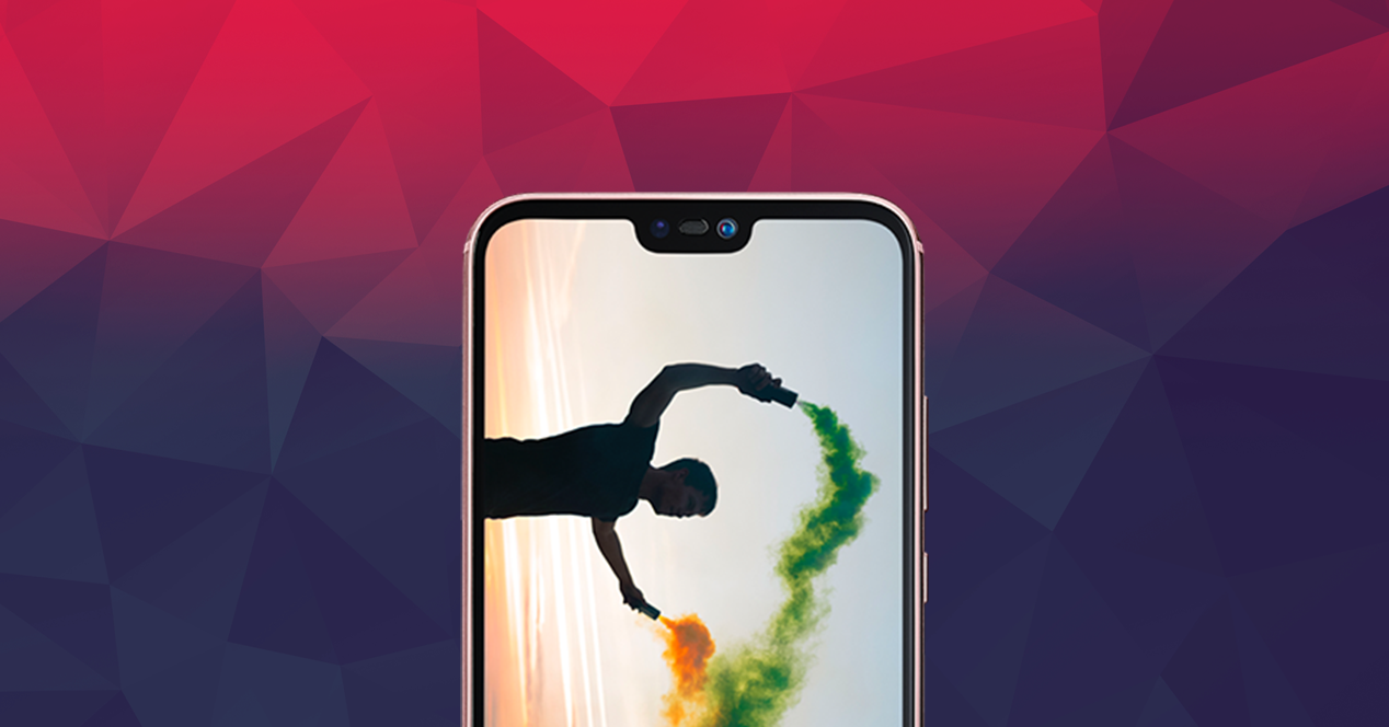Huawei P20 Lite on colorful background