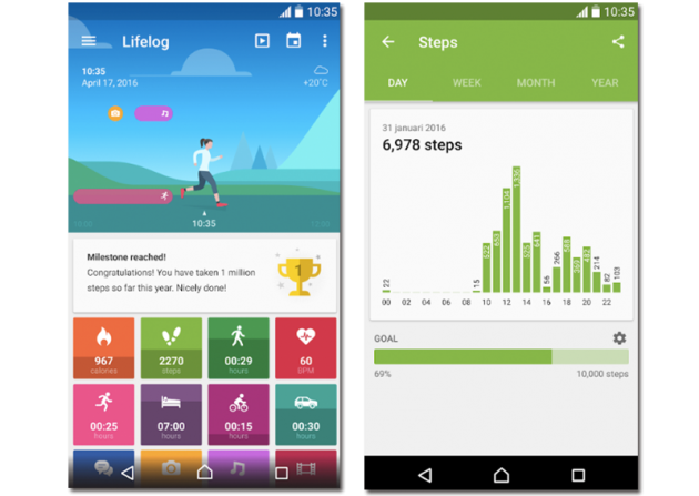 Sample images of the Lifelog app