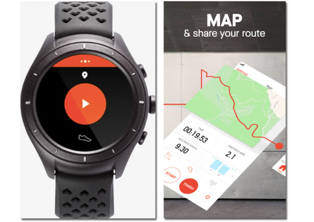 Sample images of the Strava app