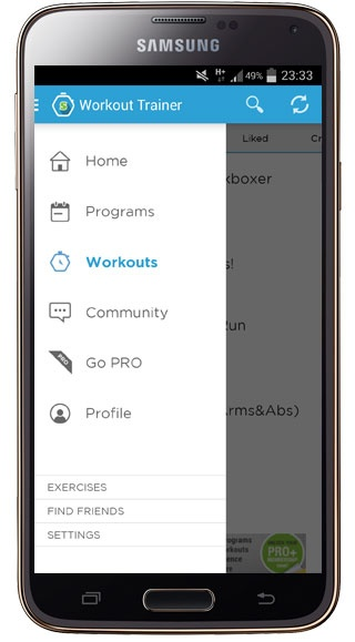 Workout Trainer interface