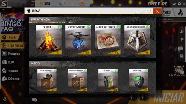 free fire items